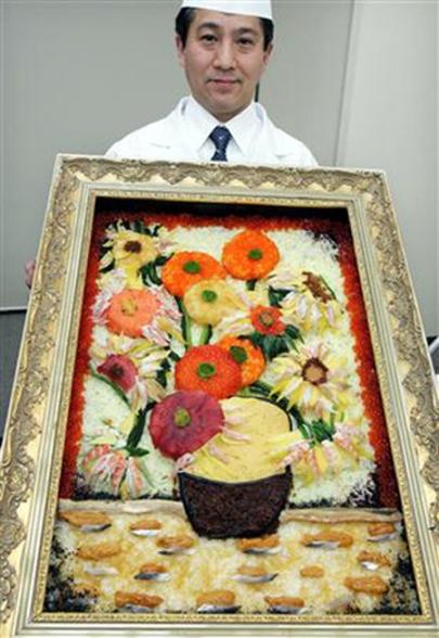 "Ken Kawasumi sắp xếp sushi dựa trên bức tranh ""Sunflower"" của Van Gogh"